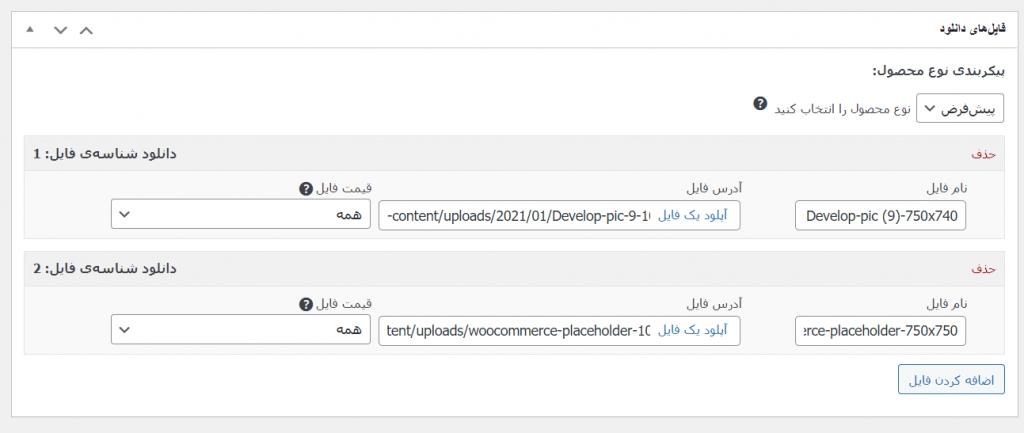 تنظیمات فایل دانلودی متغیر در ادد